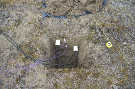 Installation of soil moisture and temperature probes