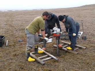 Permafrost coring, Aug 2015