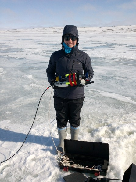 Maddie Harasyn, with the CTD set up for sampling in early June